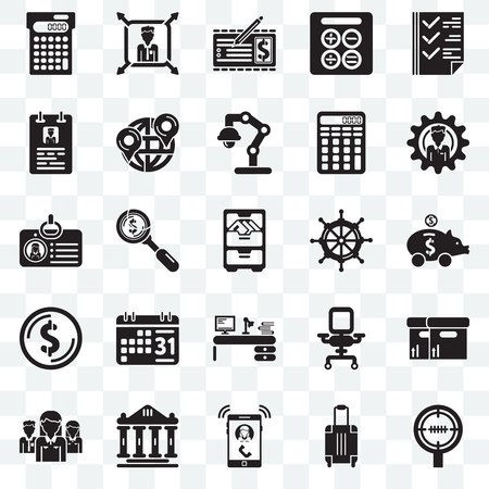Set Of 25 transparent icons such as Circular target, Vacations, Ringing, Ancient, Network, Men, Sailing boat, Studying, Dollar, Curriculum, Banker, Boss, web UI transparency icon pack