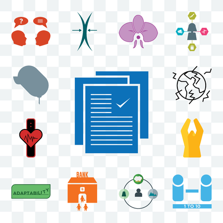 Set Of 13 transparent editable icons such as specification, number of players, shepherd, bank branch, adaptability, folded hands, tracker, earthquake, car dealer, web ui icon pack Ilustrace