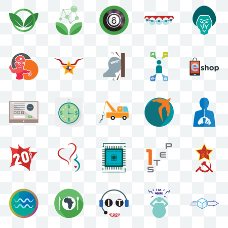 Set Of 25 transparent icons such as dispatch, obesity, it helpdesk, hunger, aquarius, eshop, swift, sem, 20% off, pirate mascot, 8 ball pool, antioxidant, web UI transparency icon pack Vecteurs
