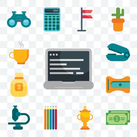 Set Of 13 transparent editable icons such as Laptop, Dollar bill, Trophy, Pencils, Microscope, Sharpener, Money bag, Stapler remover, Coffee, web ui icon pack Ilustração Vetorial