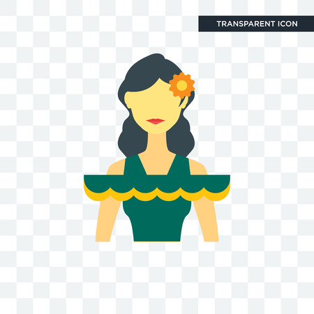 Mexican woman icon isolated on transparent background Vectores