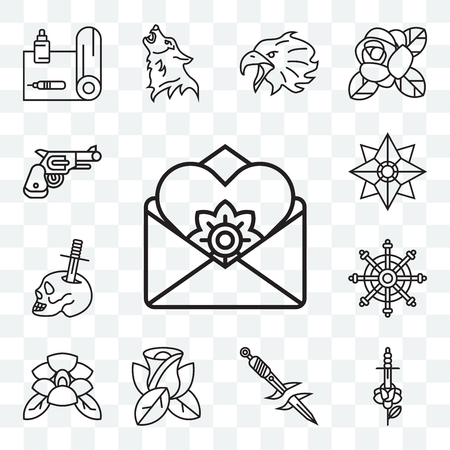 Set Of 13 transparent editable icons such as Letter, Rose, Dagger, Helm, Skull and Star, Revolver, web ui icon pack