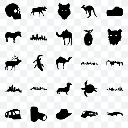 Set Of 25 transparent icons such as alligator, train, cowboy hat, beer can, tiger face, state of texas, dachshund, michigan state, zebra, wolf moose, web UI transparency icon pack