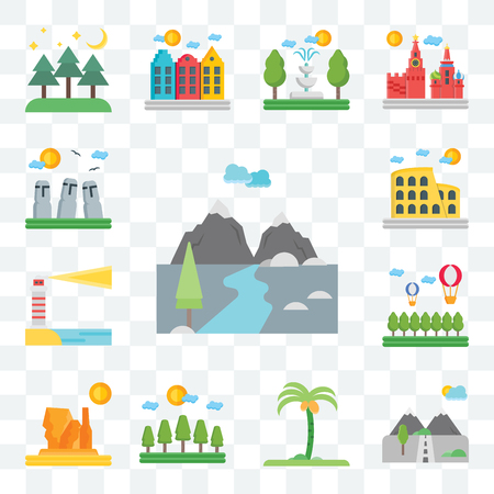 Set Of 13 transparent editable icons such as Mountains, Palm tree, Forest, Grand canyon, Hot air balloon, Lighthouse, Colosseum, Easter Island, web ui icon pack