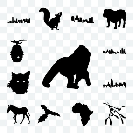 Set Of 13 transparent icons such as gorilla, mistletoe outline on white background, african continent web ui editable icon pack, transparency set Illustration