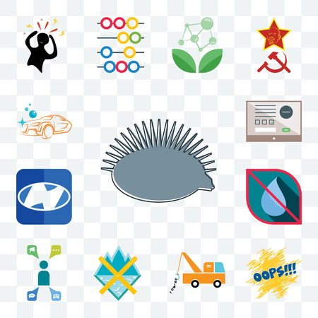 Set Of 13 transparent editable icons such as hedgehog, oops, tow truck, crossed skis, campaign management, no water, h, online form, carwash, web ui icon pack