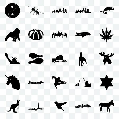Set Of 25 transparent icons such as donkey, arkansas, hummingbird, paris, kangaroo, marijuana leaf, doberman, ninja, unicorn head, gorilla, kentucky state, ant, web UI transparency icon pack Banque d'images - 111896197