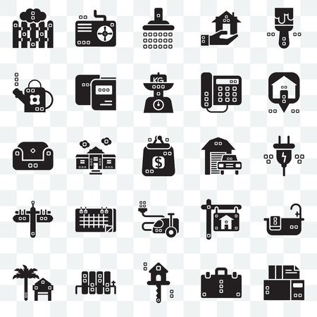 Set Of 25 transparent icons such as Archives, Electric, Maps and Flags, Cooling, Rent, Studying, Real estate, Sit down, web UI transparency icon pack, pixel perfect