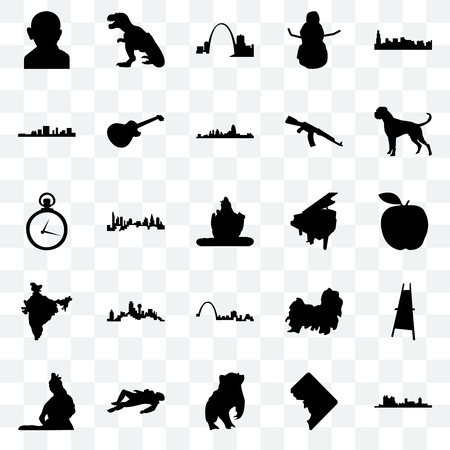 Set Of 25 transparent icons such as fort worth, dc, badger, crime scene body, lord shiva, boxer dog, grand piano, st louis, india map, south carolina, missouri, t rex, web UI transparency icon pack Illustration