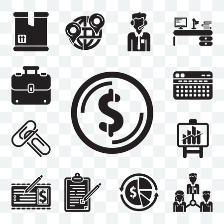 Set Of 13 transparent editable icons such as Dollar, Collaboration, Finances, Contract, Banker, Bars chart, Attachments, Stats, Luggage, web ui icon pack
