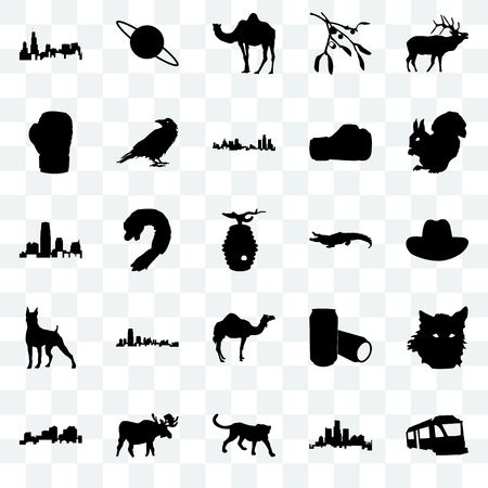 Set Of 25 transparent icons such as train, michigan state, cheetah, moose, louisiana, , alligator, camel, boxer, boxing glove, saturn, web UI transparency icon pack