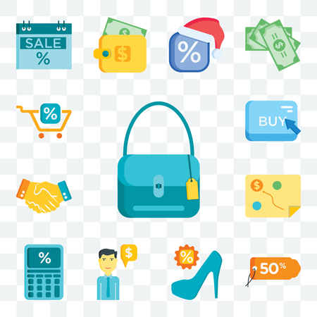 Set Of 13 transparent editable icons such as Shopping bag, Tags, High heels, Salesman, Calculator, Planning, Shaking hands, Buy, Cart, web ui icon pack Illusztráció