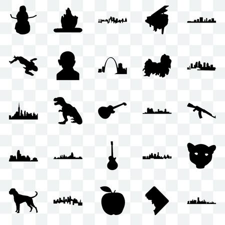 Set Of 25 transparent icons such as florida, dc, apple, minnesota, boxer dog, fort worth, image les paul, austin, crime scene body, kansas city, lord shiva, web UI transparency icon pack