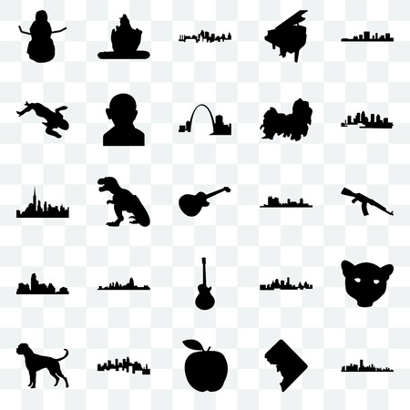 Set Of 25 transparent icons such as florida, dc, apple, minnesota, boxer dog, fort worth, image les paul, austin, crime scene body, kansas city, lord shiva, web UI transparency icon pack