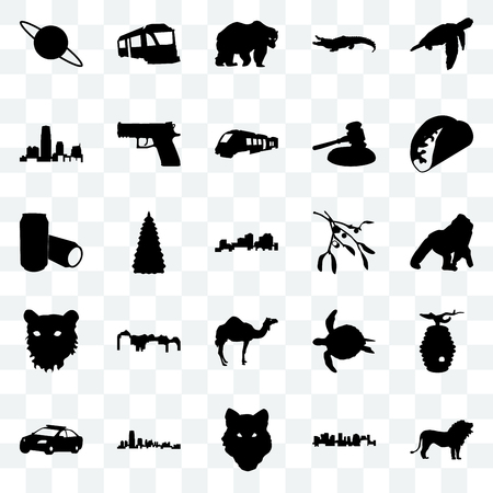 Set Of 25 transparent icons such as lion, norway, wolf face, new jersey, police car, taco, mistletoe, camel, tiger bear, train, web UI transparency icon pack