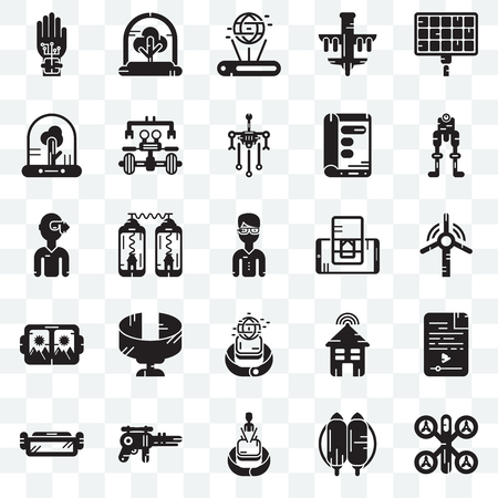 Set Of 25 transparent icons such as Drone, Jetpack, Hologram, Blaster, Ar glasses, Robot, Smartphone, Smartwatch, Vr Tree, web UI transparency icon pack Stock Vector - 106998272