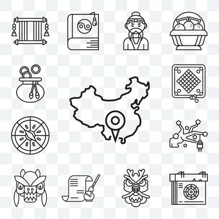 Set Of 13 transparent editable icons such as China, Calendar, Dragon, Calligraphy, Sakura, Compass, Game, Money bag, web ui icon pack Illustration