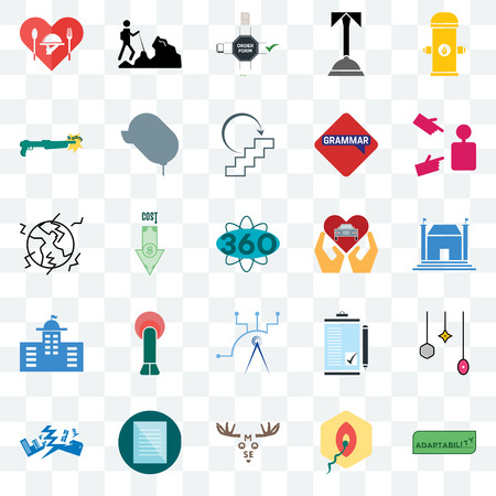 Set Of 25 transparent icons such as adaptability, penetration, moose, specification, earthquake, advisor, car dealer, telecom, municipal, shotgun, order form, hiker, web UI transparency icon pack