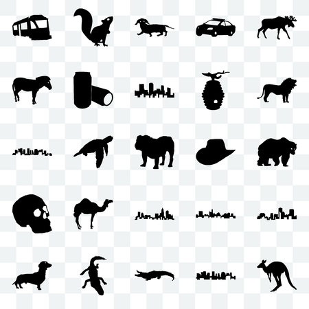 Set Of 25 transparent icons such as kangaroo, norway, alligator, dachshund, lion, cowboy hat, north carolina state, simple skull, zebra, , web UI transparency icon pack