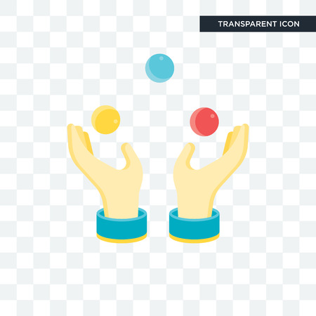 Icono de vector de bola de malabares aislado sobre fondo transparente, concepto de icono de bola de malabares Ilustración de vector
