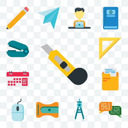 Set Of 13 transparent editable icons such as Cutter, Chat, Compass, Sharpener, Mouse, Folder, Calendar, Ruler, Stapler remover, web ui icon pack
