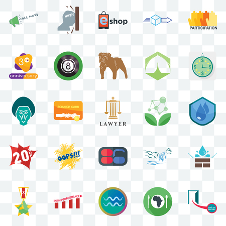 Set Of 25 transparent icons such as cash on delivery, water resistant, estimate, frustration, veteran, 8 ball pool, waterfall, baboon, web UI transparency icon pack, pixel perfect