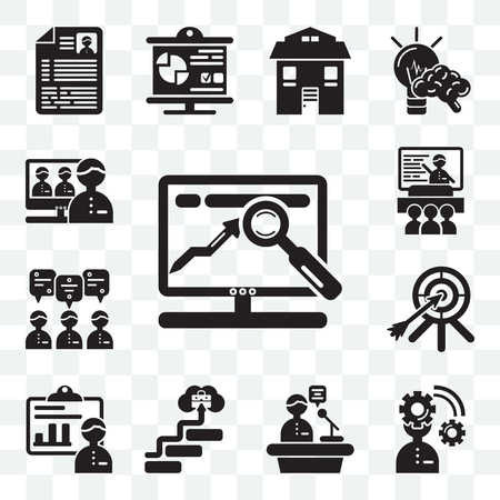 Set Of 13 transparent editable icons such as Website, Planning, Speech, Career, Presentation, Dart, Teamwork, Video conference, web ui icon pack Vettoriali
