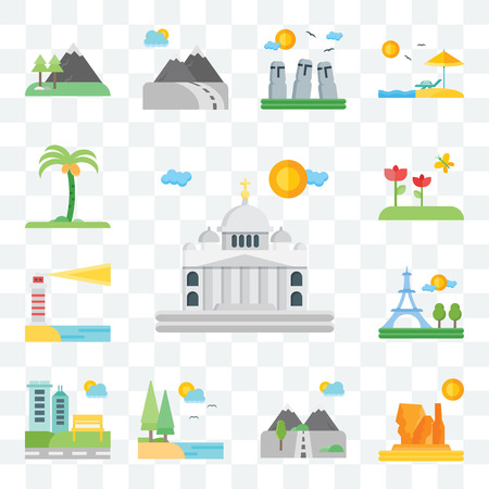 Set Of 13 transparent editable icons such as Vaticano, Grand canyon, Mountains, Lake, Park, Paris, Lighthouse, Flowers, Palm tree, web ui icon pack