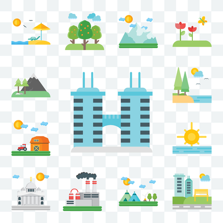 Set Of 13 transparent editable icons such as Building, Park, Indian, Factory, Vaticano, Sunrise, Barn, Lake, Mountains, web ui icon pack