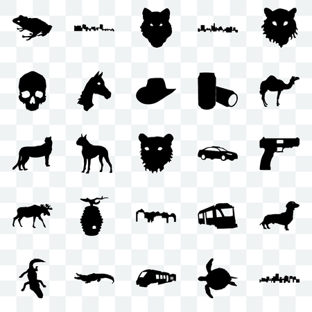 Set Of 25 transparent icons such as virginia state, sea turtle, train, alligator, camel, police car, utah, moose, simple skull, wolf face, cuba, web UI transparency icon pack Illustration
