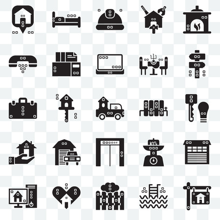 Set Of 25 transparent icons such as Real estate, Step ladder, Picket, Lover, Blackboard, Panel, Radiators, Up, Hand phones, Worker, Beds, web UI transparency icon pack