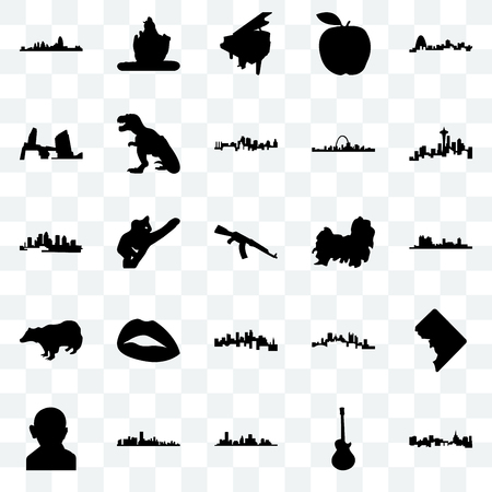 Set Of 25 transparent icons such as st paul, image les houston, florida, gandhi, seattle, shih tzu, minnesota, badger, long island, grand piano, lord shiva, web UI transparency icon pack