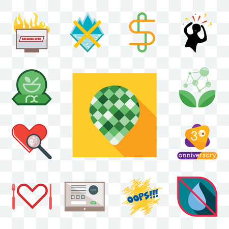 Set Of 13 transparent editable icons such as pine cone, no water, oops, online form, appetite, 3rd anniversary, cholesterol, antioxidant, pharmacy, web ui icon pack 矢量图像