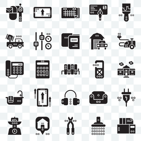Set Of 25 transparent icons such as Archives, Shower, Pruners, Maps and Flags, Kilograms, House things, Disturbance, Headphones, Relax, Trucks, Seventeen, Up, web UI transparency icon pack 일러스트