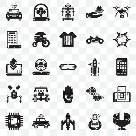 Set Of 25 transparent icons such as Panoramic view, Smartwatch, Rocket, Car, Chip, Graphene, Phone call, Robot, Smartphone, Tree, web UI transparency icon pack