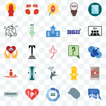 Set Of 25 transparent icons such as discussion board, telecom, number of players, inquiry, buffering, cost uction, fire hydrant, car dealer, web UI transparency icon pack, pixel perfect Ilustrace