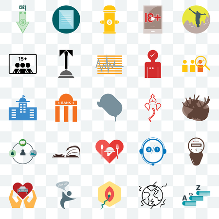 Set Of 25 transparent icons such as vocabulary, moose, advisor, specification, car dealer, concierge, live support, municipal, web UI transparency icon pack, pixel perfect