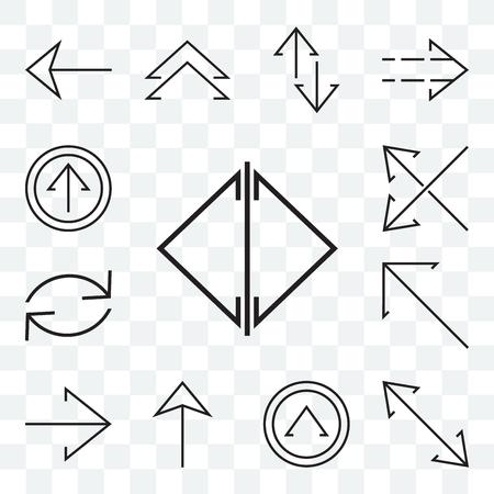 Set mit 13 transparenten bearbeitbaren Symbolen wie Doppelpfeil, Diagonale, Aktualisierung der rechten Diagonale nach oben, gekreuzte Pfeile, Web-UI-Symbolpaket
