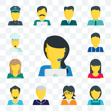 Set Of 13 transparent editable icons such as Customer service, Clerk, Teacher, Priest, Man, Woman, Football player, Chef, web ui icon pack