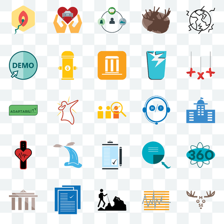 Set Of 25 transparent icons such as moose, tracker, hiker, specification, municipality, xxx, live support, order form, demo, shepherd, car dealer, web UI transparency icon pack Ilustrace