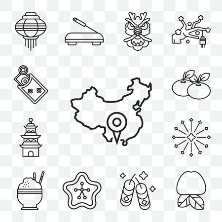 Set Of 13 transparent editable icons such as China, Plum, Fireworks, Sakura, Rice, Pagoda, Tangerine, Money, web ui icon pack