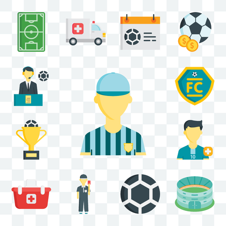 Set Of 13 transparent editable icons such as Referee, Stadium, Ball, Shopping basket, Soccer player, Cup, Football club, Commentator, web ui icon pack Vectores