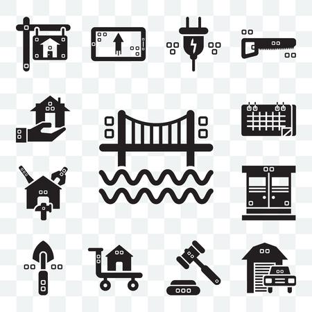 Set Of 13 transparent editable icons such as Bridges, Transportation, Ceremonial, Carrier, Garden work, Entrance, Reparation, Seventeen, Real estate, web ui icon pack