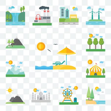 Conjunto de 13 iconos editables transparentes como Playa, Lago, Parque de atracciones, Taj Mahal, Montañas, Circo, Montaña, Campo, paquete de iconos de interfaz de usuario web