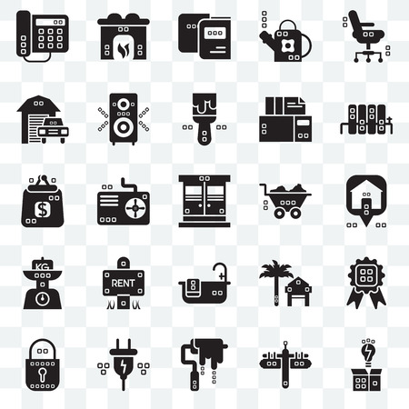 Set Of 25 transparent icons such as Invention, Maps and Flags, Paint roller, Electric, Blocked, Radiators, Barrow, Relax, Kilograms, Transportation, Studying, Hearth, web UI transparency icon pack Иллюстрация
