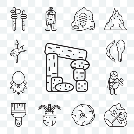Set Of 13 transparent editable icons such as Dolmen, Fossil, Wheel, Plant, Brush, Troglodyte, Necklace, Boomerang, Fishing, web ui icon pack