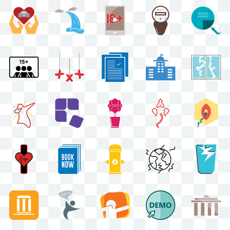 Set Of 25 transparent icons such as municipality, demo, dab, join us, broken glass, ganesh, fire hydrant, tracker, number of players, xxx, waterfall, web UI transparency icon pack