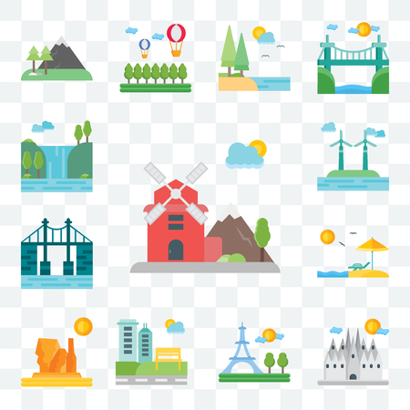 Set Of 13 transparent editable icons such as Windmill, Barcelona, Paris, Park, Grand canyon, Beach, Bridge, Waterfall, web ui icon pack