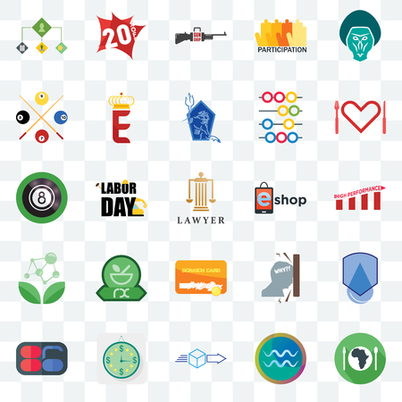 Set Of 25 transparent icons such as hunger, aquarius, dispatch, estimate, 86, appetite, eshop, scratch card, antioxidant, snooker, gun shop, 20% off, web UI transparency icon pack Ilustração