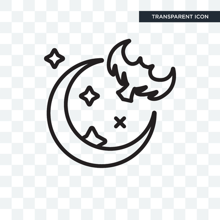 Night vector icon isolated on transparent background, Night icon concept